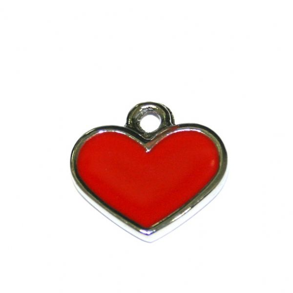 1 x 18*17mm rhodium plated dark red heart enamel charm - SD03 - CHE1007